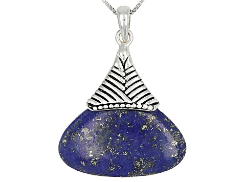 Blue Lapis Lazuli Sterling Silver Pendant With Chain