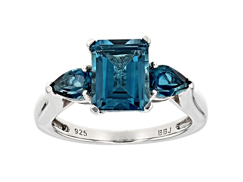 LONDON BLUE TOPAZ and Blue Topaz Ring in Rhodium Over Sterling Silver Size 7