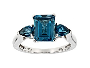London Blue Topaz Sterling Silver Ring 3.40ctw