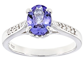 Blue Tanzanite Rhodium Over Sterling Silver Ring 1.05ctw