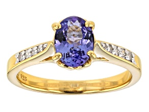 Blue Tanzanite 18k yellow gold over Sterling Silver Ring 1.05ctw