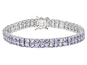Blue Tanzanite Sterling Silver Bracelet 17.48ctw