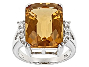 Brown Champagne Quartz Sterling Silver Ring 11.72ctw