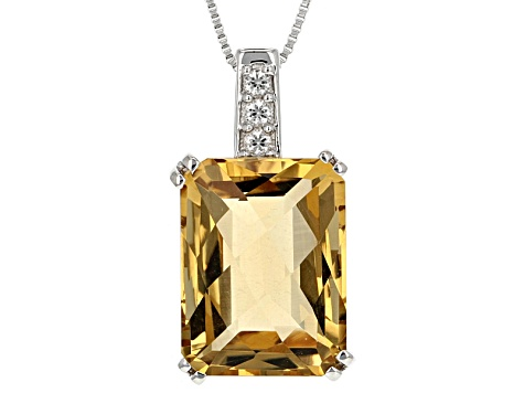 Brown Champagne Quartz Sterling Silver Pendant With Chain 11.52ctw