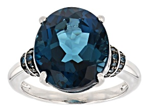 London blue topaz rhodium over sterling silver ring 8.26ctw
