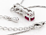 Red Burmese Ruby Sterling Silver Pendant With Chain 0.70ctw