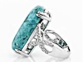 Blue turquoise rhodium over sterling silver ring .48ctw