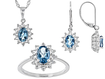 Picture of London blue topaz rhodium over sterling silver jewelry set 5.03ctw
