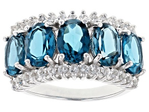 London blue topaz rhodium over sterling silver ring 4.73ctw