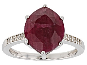 Red ruby sterling silver ring 5.39ctw