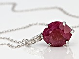 Red ruby sterling silver pendant with chain 5.21ctw