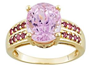Pink Kunzite 10k Yellow Gold Ring 5.25ctw