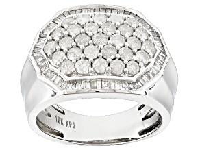 Diamond 10k White Gold Gents Ring 2.00ctw