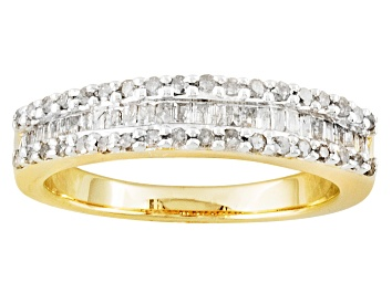 Picture of White Diamond 14K Yellow Gold Over Sterling Silver Ring 0.50ctw