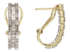 1.00ctw Round & Baguette Diamond 10k Yellow Gold Earrings