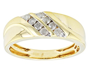 Diamond 10k Yellow Gold Gents Ring .36ctw