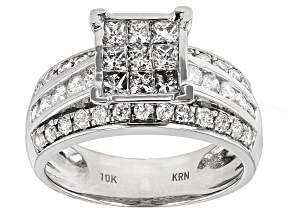 Diamond 10k White Gold Ring 1.51ctw