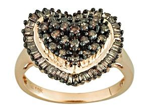 Champagne Diamond 10k Yellow Gold Ring .95ctw