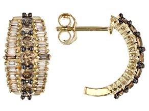Champagne Diamond 10k Yellow Gold Earrings 1.25ctw
