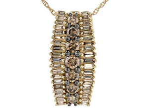"""Champagne Diamond 10k Yellow Gold Pendant With 18"""" Rope Chain 1.25ctw"""