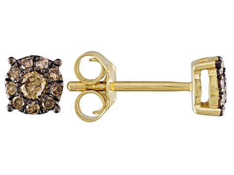 63bd61dc1c411 Champagne Diamond 10k Yellow Gold Earrings .25ctw