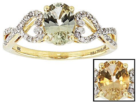 Color Change Zultanite And White Diamond 14k Yellow Gold Ring 1 19ctw