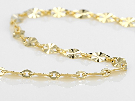 10k Yellow Gold Curb Link Chain Necklace 20 inch