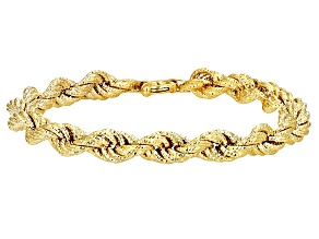 10k Yellow Gold Hollow Rope Bracelet 7.5 inch