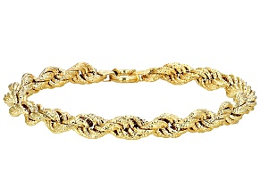 10k Yellow Gold Hollow Rope Bracelet 8 inch