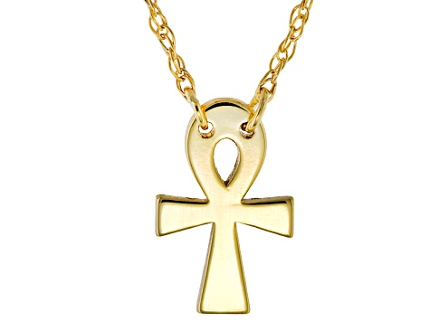 10k Yellow Gold Mini Ankh Cross Necklace 16 inch