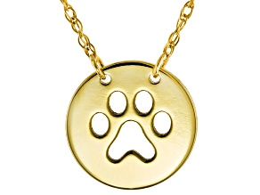 10k Yellow Gold Mini Cut Out Paw Print Necklace 16 inch