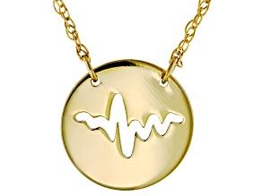 10k Yellow Gold Mini Cut Heartbeat Necklace 16 inch