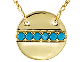 Blue Glass 10k Yellow Gold Necklace 16 inch