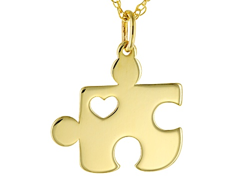 3f7ed60e990b4 10k Yellow Gold Mini Heart Puzzle Piece Pendant With Chain Necklace 16 inch