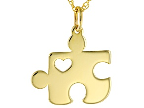10k Yellow Gold Mini Heart Puzzle Piece Pendant With Chain Necklace 16 inch