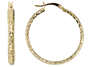 10k Yellow Gold Diamond Cut 29mm X 26mm Tube Hoop Earrings