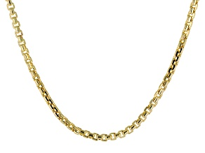 10k Yellow Gold Diamond Cut Round Box Necklace 20 inch