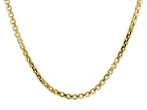 10k Yellow Gold Diamond Cut Round Box Necklace 22 inch