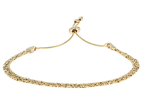 10k Yellow Gold Hollow Rosetta And Byzantine Sliding Adjustable Bracelet Set Of Two