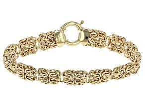 10k Yellow Gold Hollow Byzantine Bracelet 8 inch