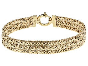 0.98 Ctw Diamond 10k Yellow Gold Hollow Byzantine Bracelet 8 inch