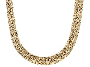 10k Yellow Gold Hollow Byzantine Necklace 20 inches