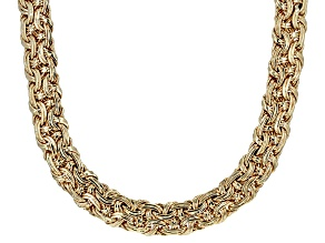 10k Yellow Gold Hollow Designer Weave Necklace 20 inch