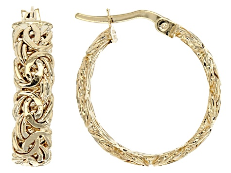 10k Yellow Gold Hollow Byzantine Hoop Earrings