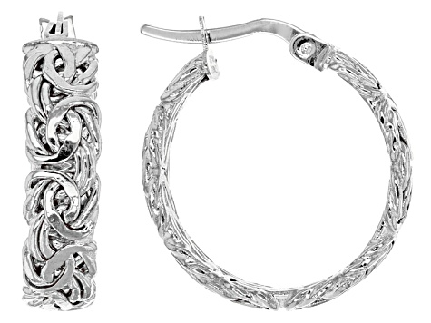 10k White Gold Hollow Byzantine Hoop Earrings 17mm
