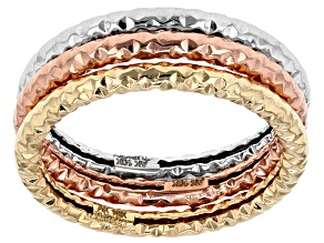 10k Yellow Gold White Gold And Rose Gold Band Ring Set Of Three