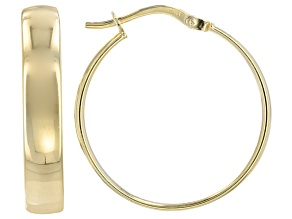 10k Yellow Gold Tube Hoop Earrings With A Sterling Silver Core 4.0mm