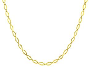 10KT Yellow Gold Diamond Cut Oval Necklace 18""