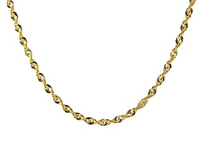 10k Yellow Gold Diamond Cut Rope Chain Necklace 20 inch 1.5mm
