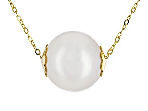 10mm Cultured Freshwater Pearl 10k Yellow Gold Necklace 18 inch